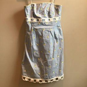 Seersucker strapless dress with lemon embroidery